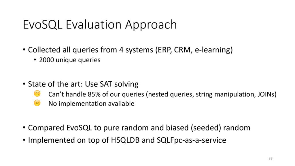 EvoSQL Evaluation Approach • Collected all quer...