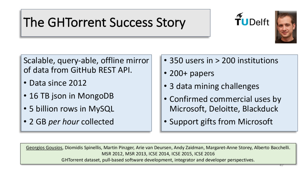 The GHTorrent Success Story Scalable, query-abl...