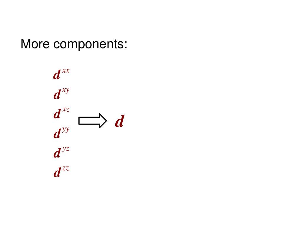 d dxx dxy dxz dyy dyz dzz More components: