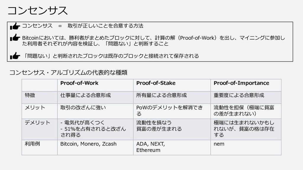 コンセンサス Proof-of-Work Proof-of-Stake Proof-of-Im...