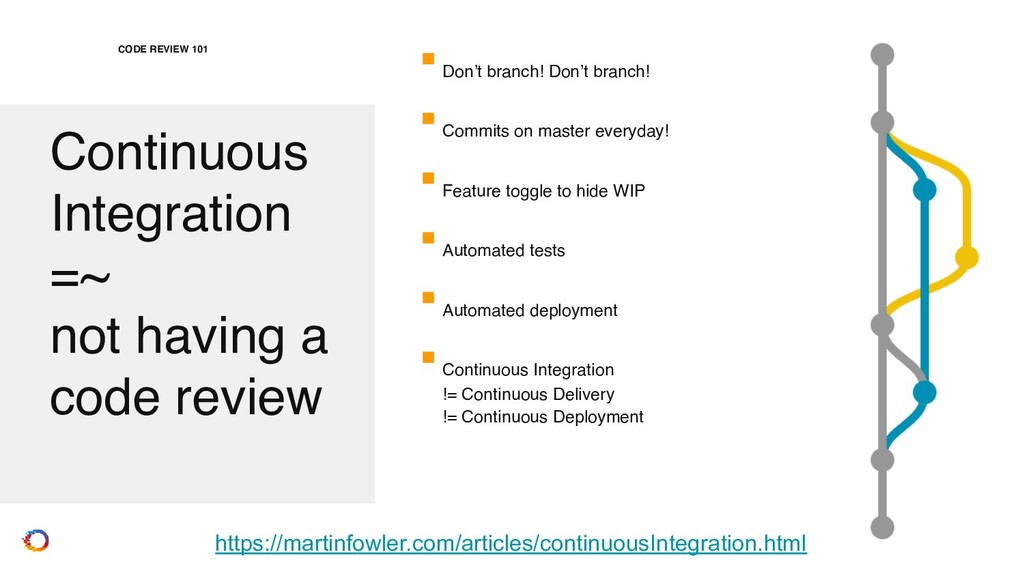 Continuous Integration =~ not having a code r...