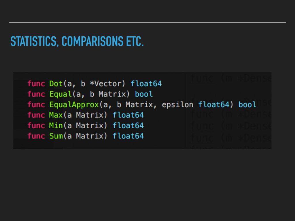 STATISTICS, COMPARISONS ETC.