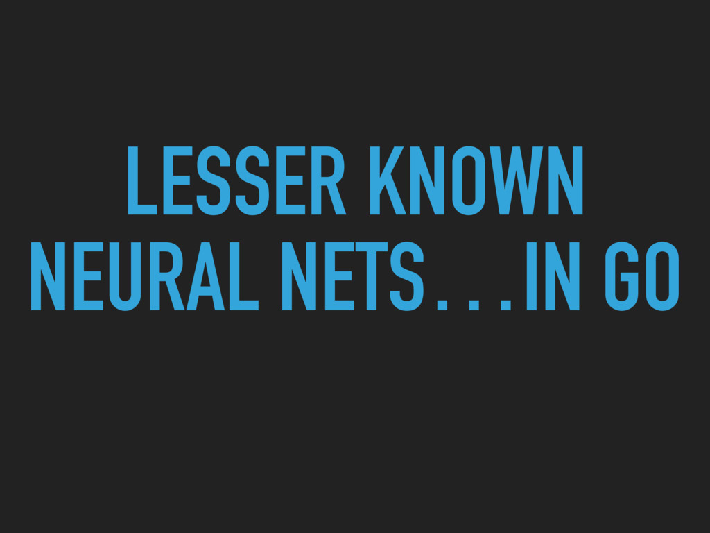 LESSER KNOWN NEURAL NETS…IN GO