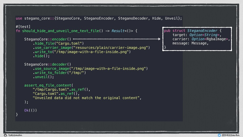 use stegano_core::{SteganoCore, SteganoEncoder,...