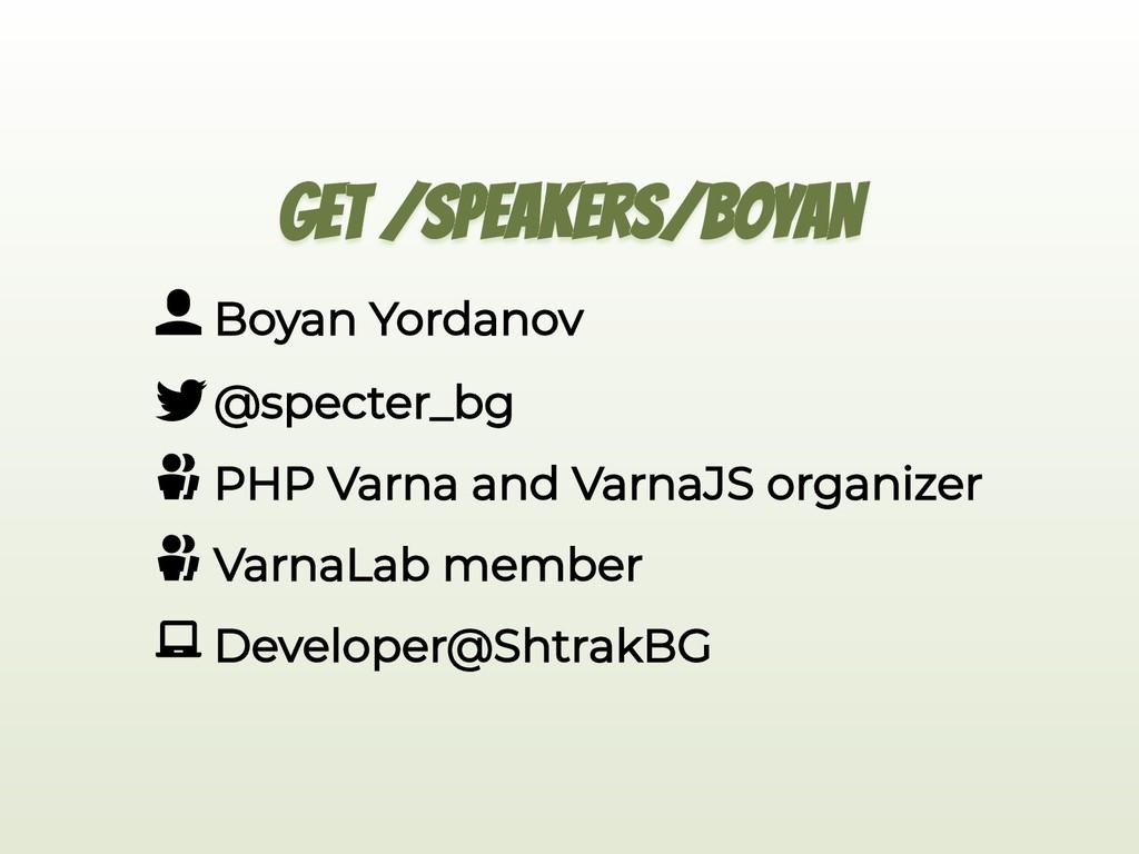 GET /SPEAKERS/BOYAN Boyan Yordanov @specter_bg ...