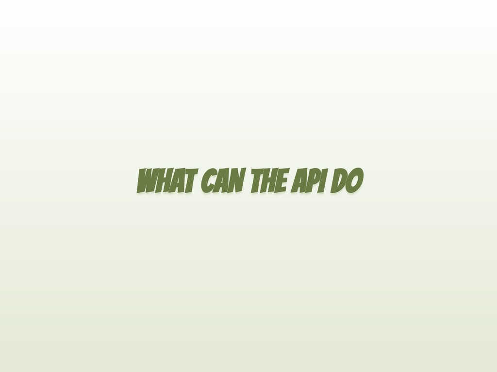WHAT CAN THE API DO