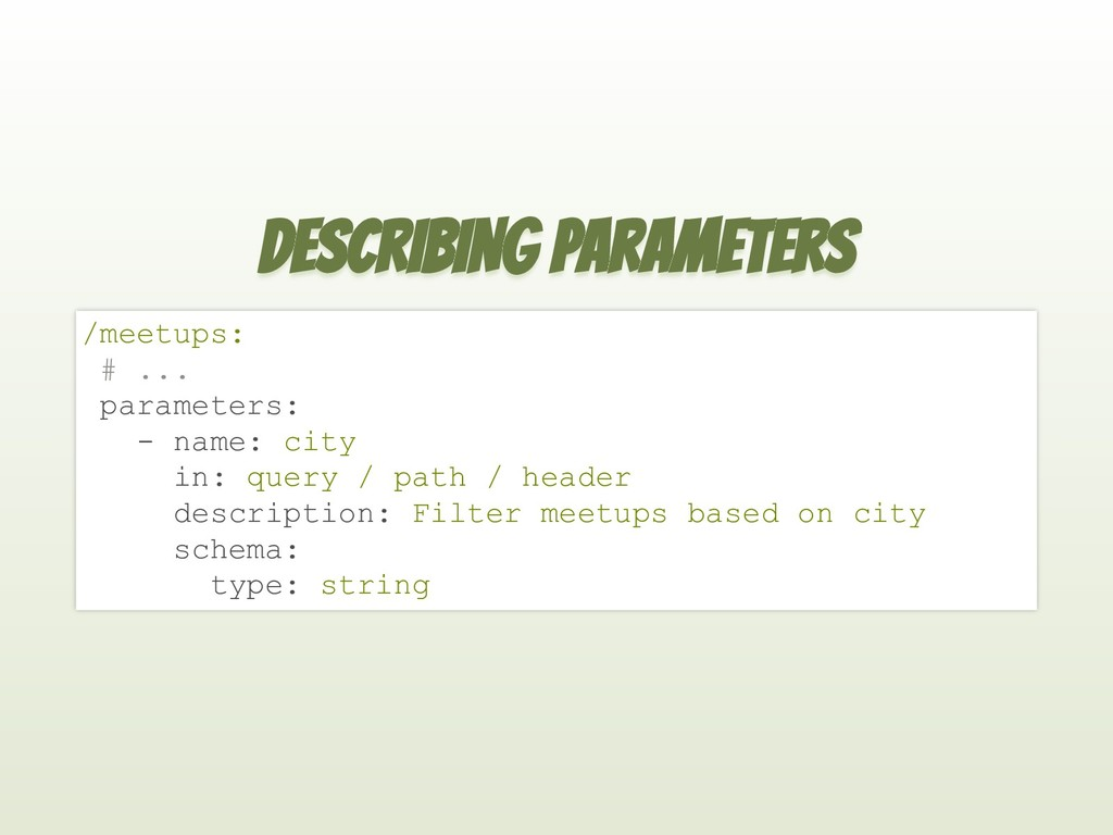 DESCRIBING PARAMETERS /meetups: # ... parameter...
