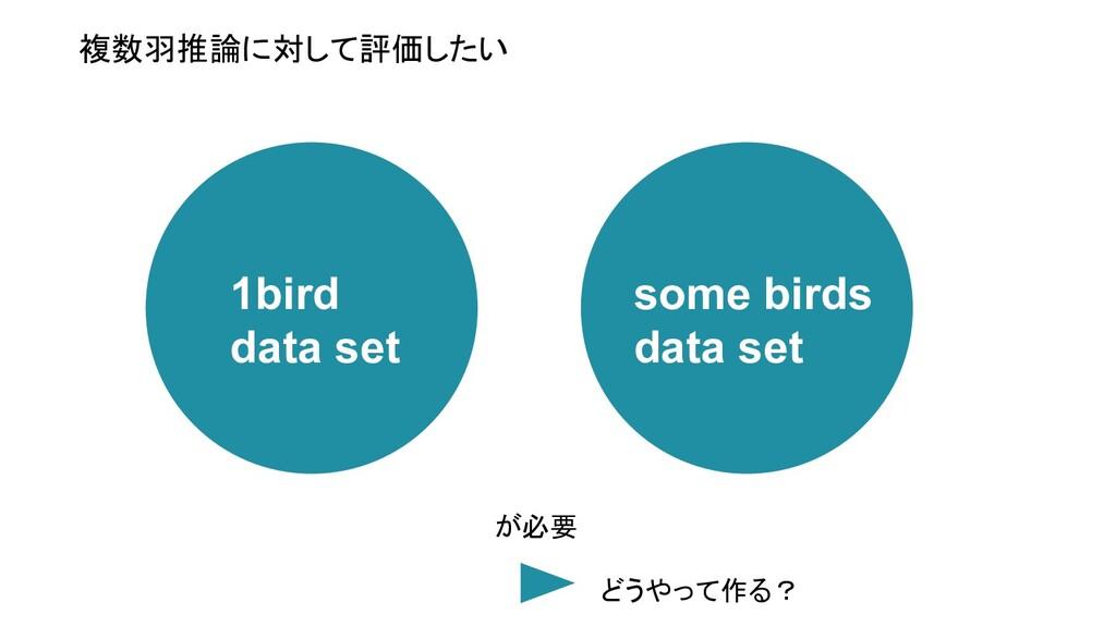 複数羽推論に対して評価したい 1bird data set some birds data s...