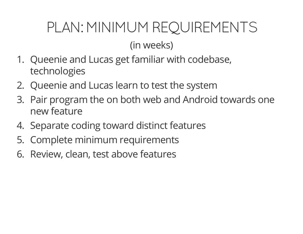 PLAN: MINIMUM REQUIREMENTS (in weeks) 1. Queeni...