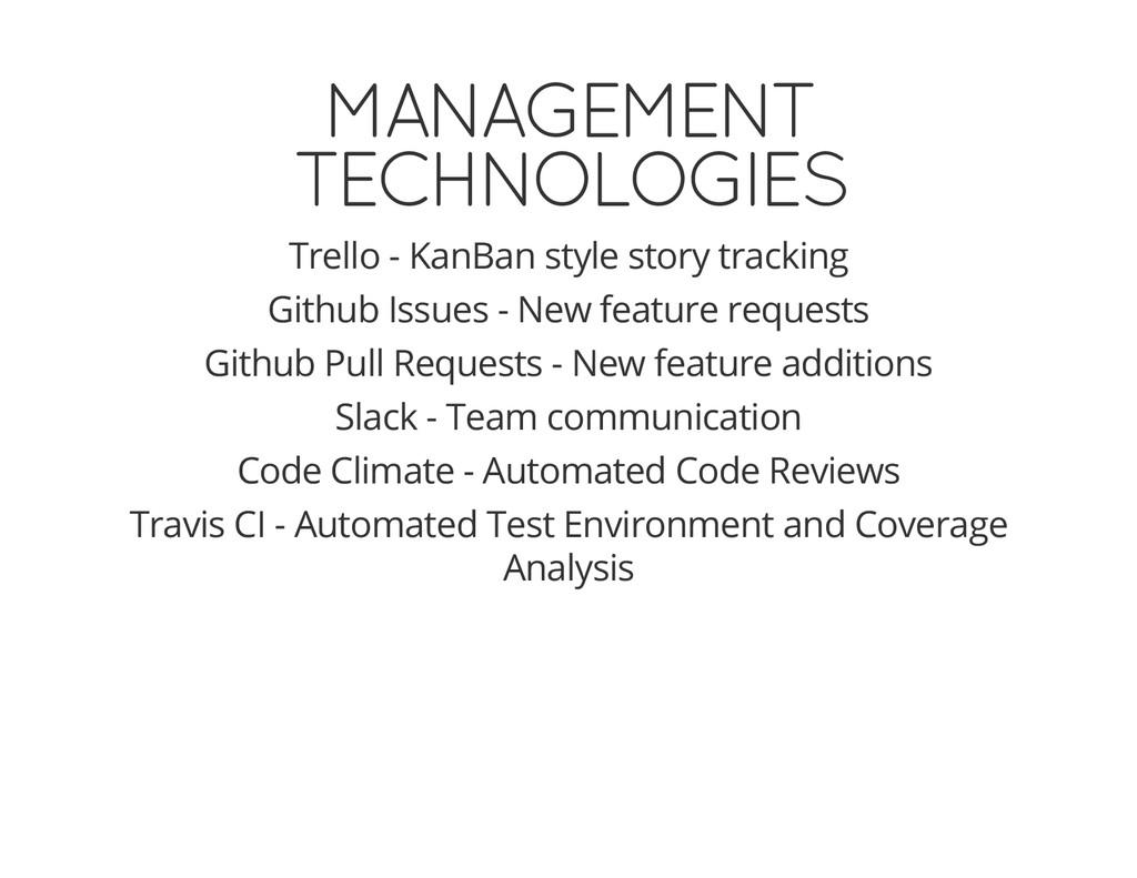 MANAGEMENT TECHNOLOGIES Trello - KanBan style s...