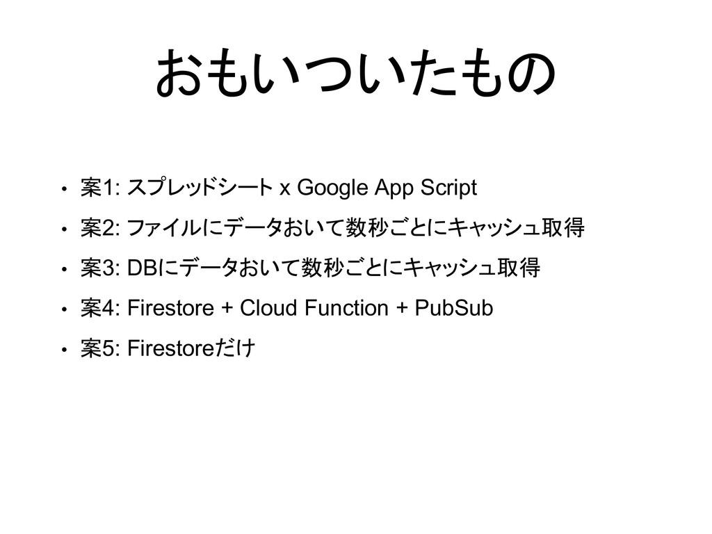 おもいついたもの • 案1: スプレッドシート x Google App Script • 案...