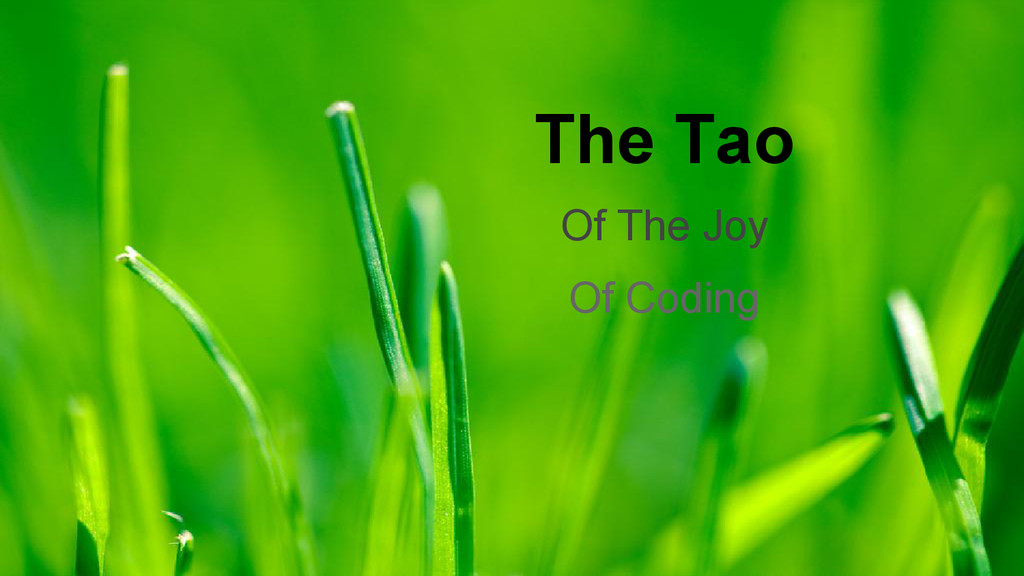 The Tao Of The Joy Of Coding