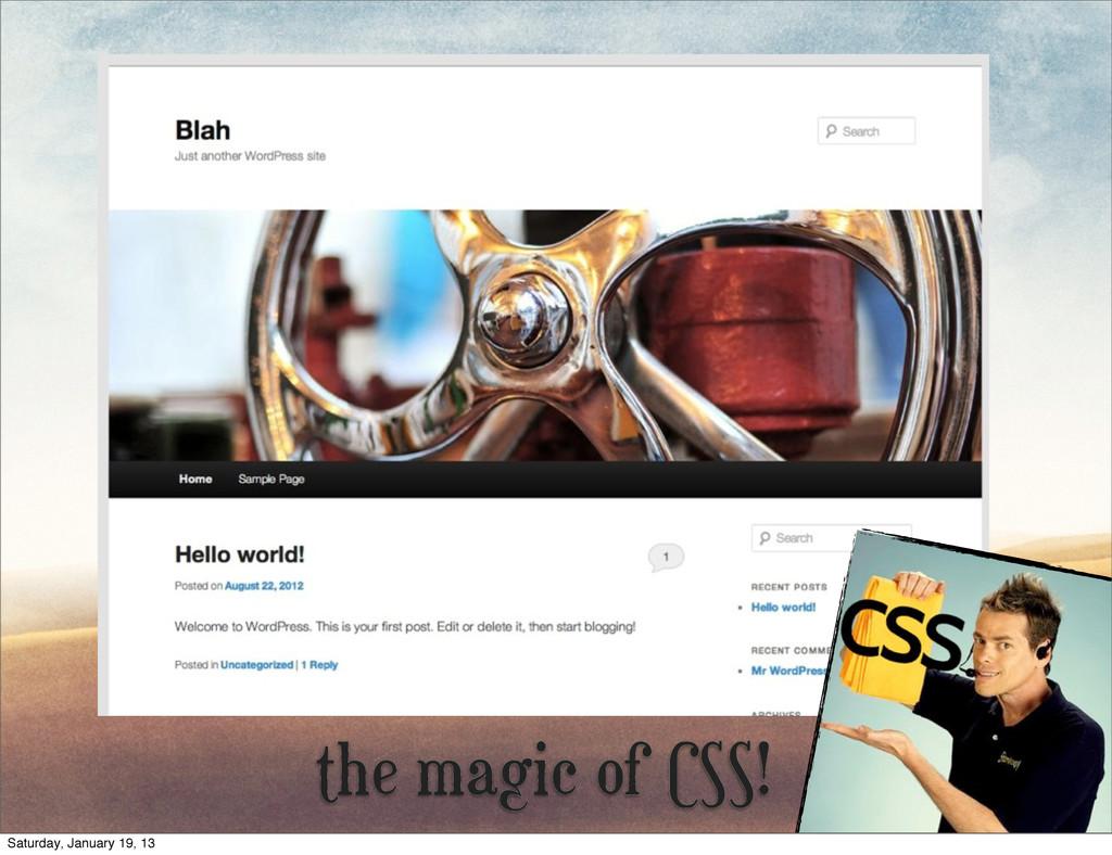 the magic of CSS! Saturday, January 19, 13