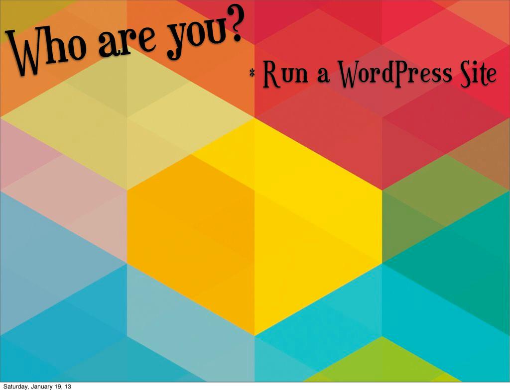 Who are you? * Run a WordPress Site Saturday, J...
