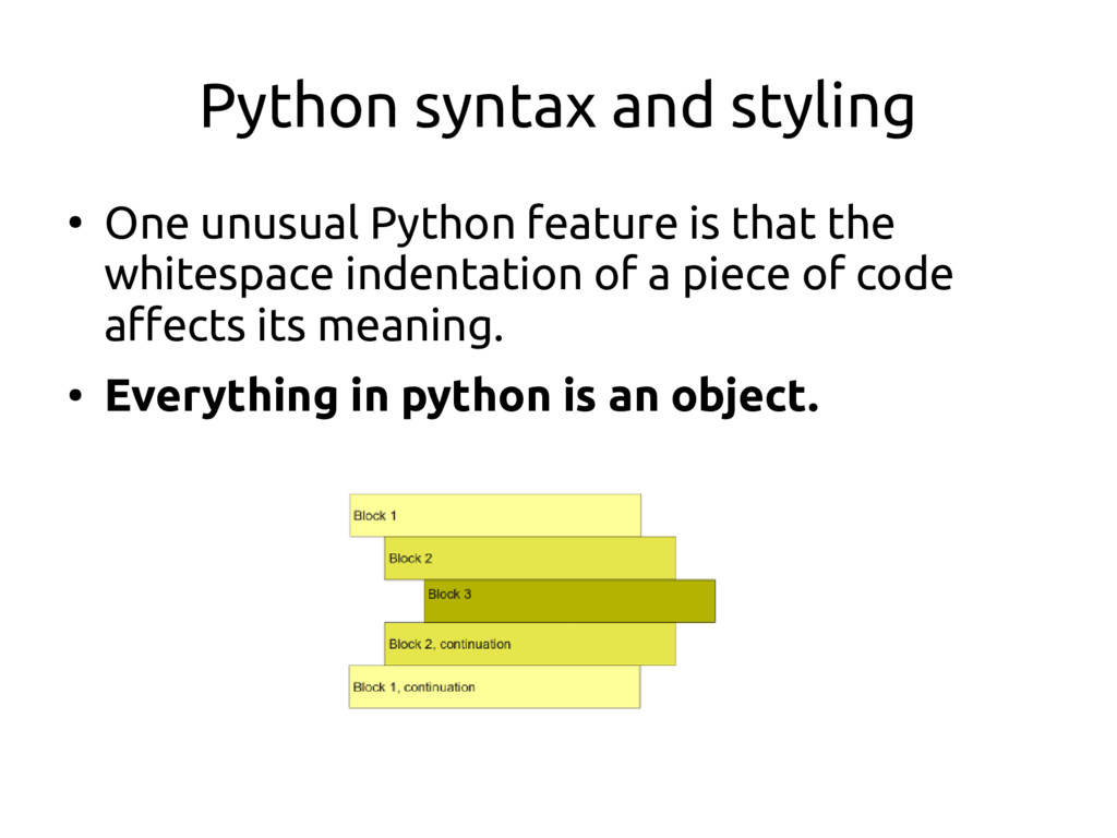 Python syntax and styling ● One unusual Python ...