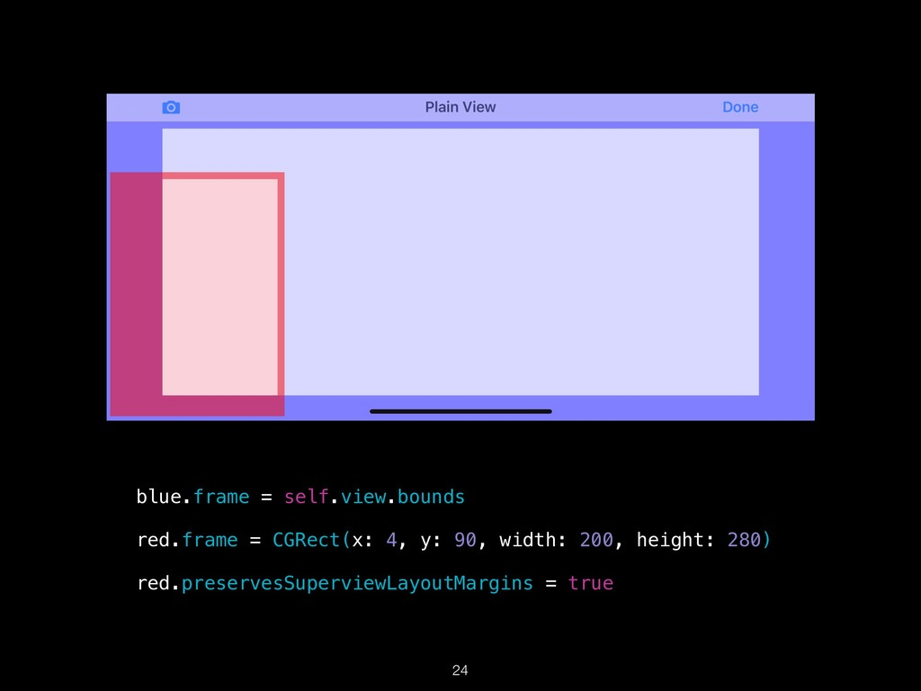 !24 blue.frame = self.view.bounds red.frame = C...
