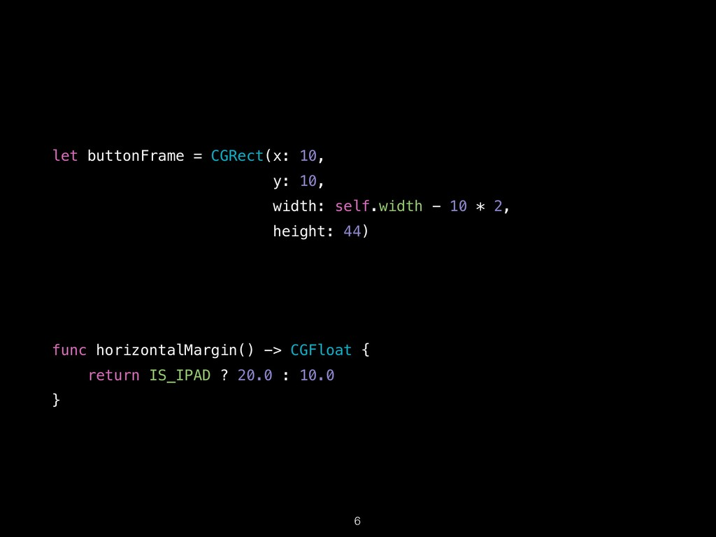 !6 func horizontalMargin() -> CGFloat {  retur...