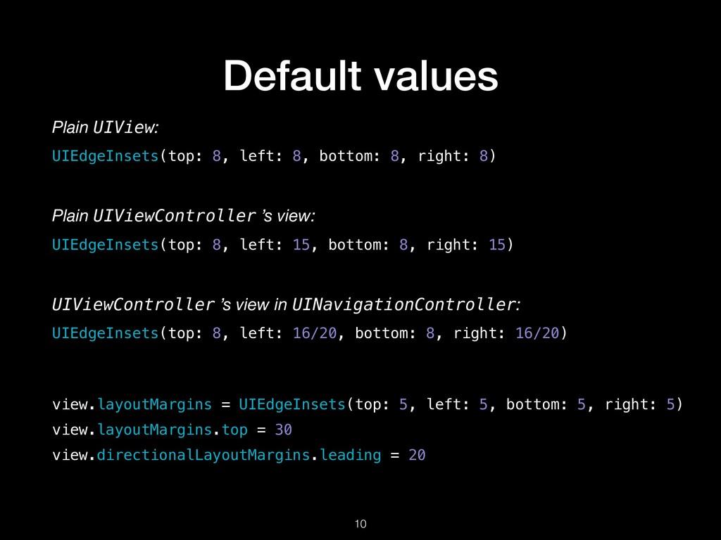 Default values !10 view.layoutMargins = UIEdgeI...