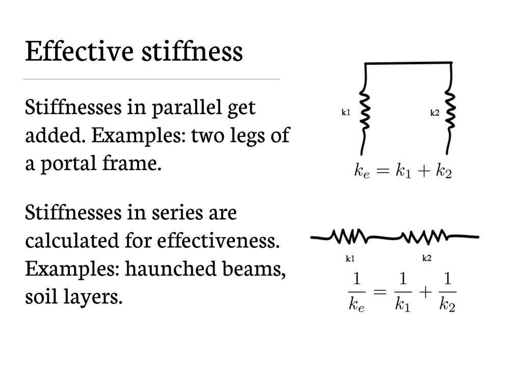 Effective stiffness Stiffnesses in parallel get...