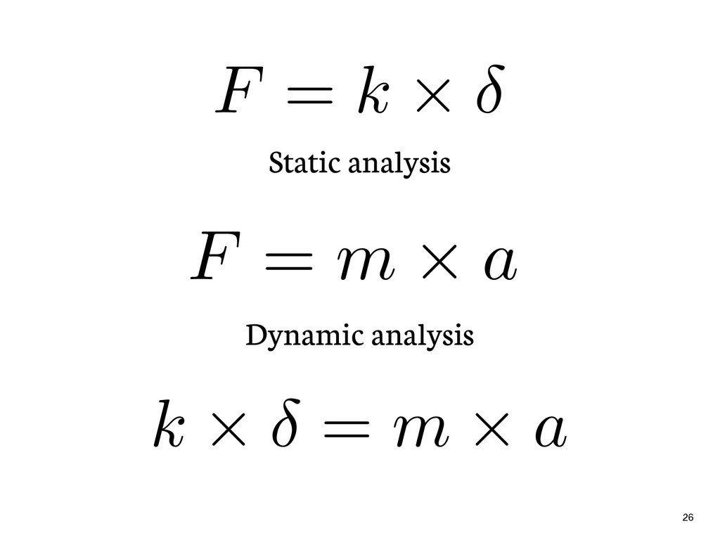 Static analysis 26 F = k ⇥ Dynamic analysis F =...