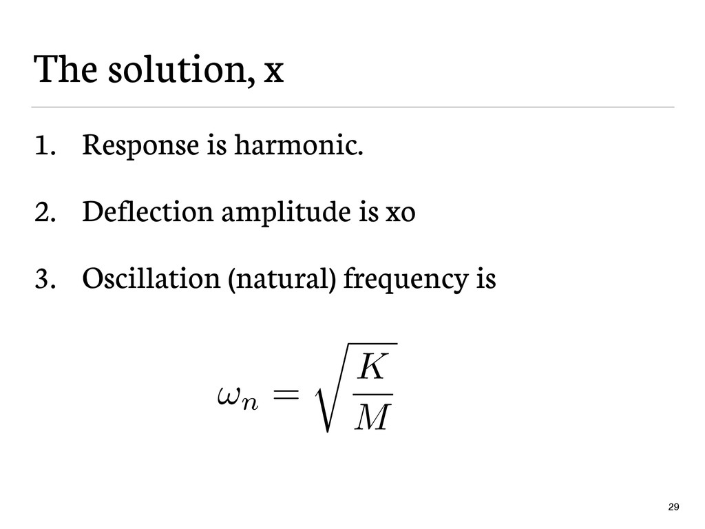 The solution, x 1. Response is harmonic. 2. Def...