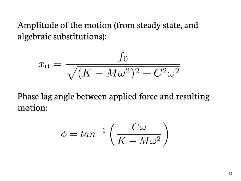 Amplitude of the motion (from steady state, and...
