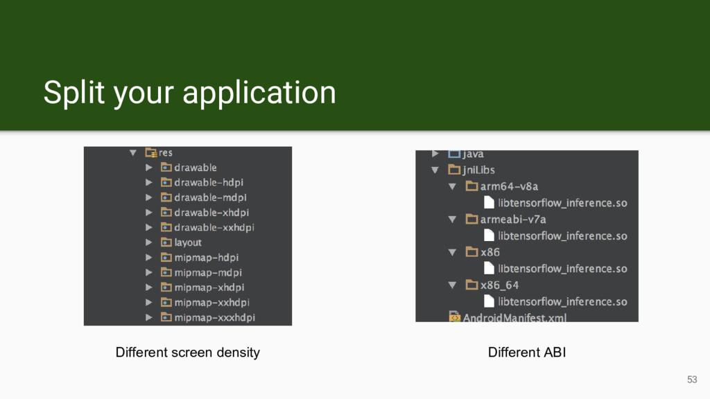 53 Different screen density Different ABI Split...
