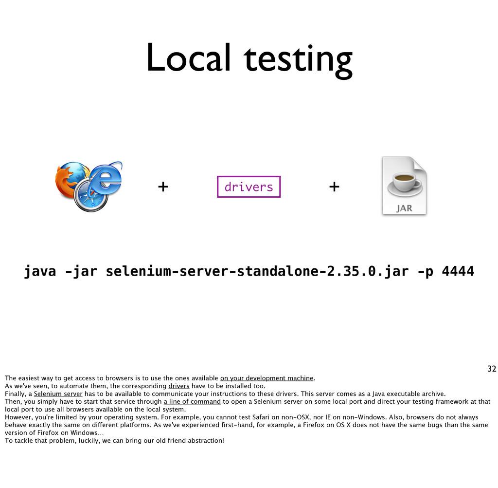Local testing 32 java -jar selenium-server-stan...