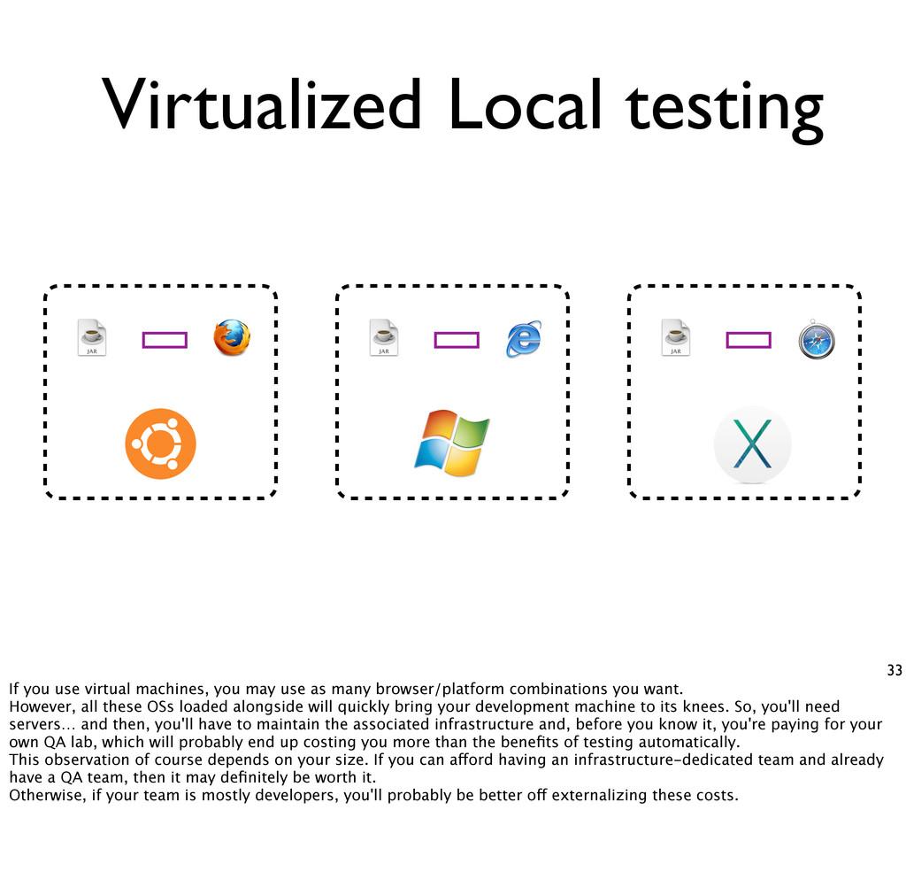 Virtualized 33 Local testing If you use virtual...