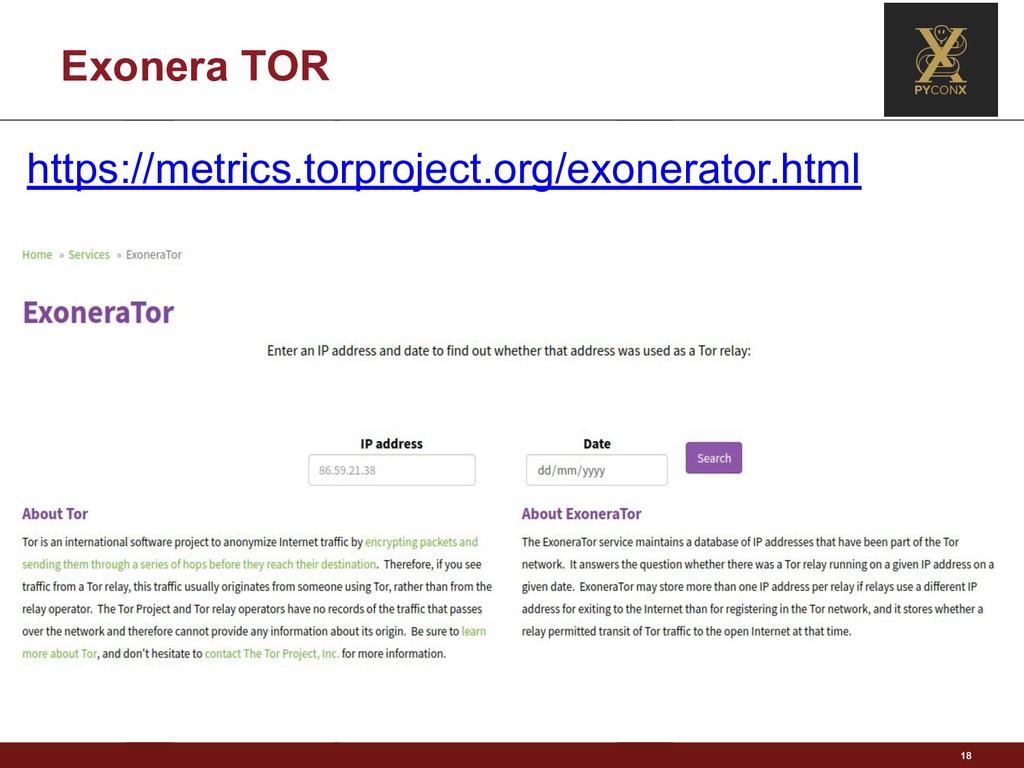 Exonera TOR 18 https://metrics.torproject.org/e...