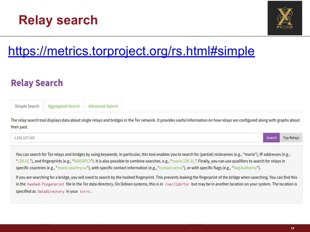 Relay search 19 https://metrics.torproject.org/...