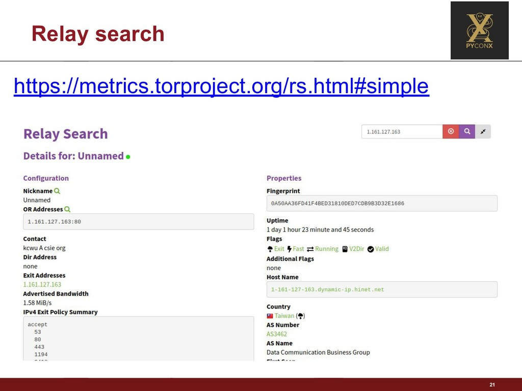 Relay search 21 https://metrics.torproject.org/...