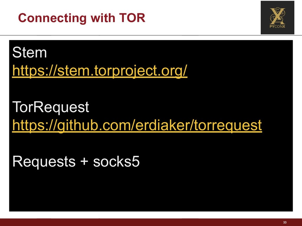 Connecting with TOR 33 Stem https://stem.torpro...