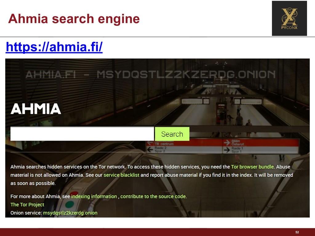 Ahmia search engine 52 https://ahmia.fi/