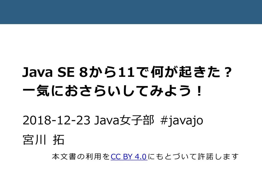 Java SE 8から11で何が起きた? 一気におさらいしてみよう! 2018-12-23 J...