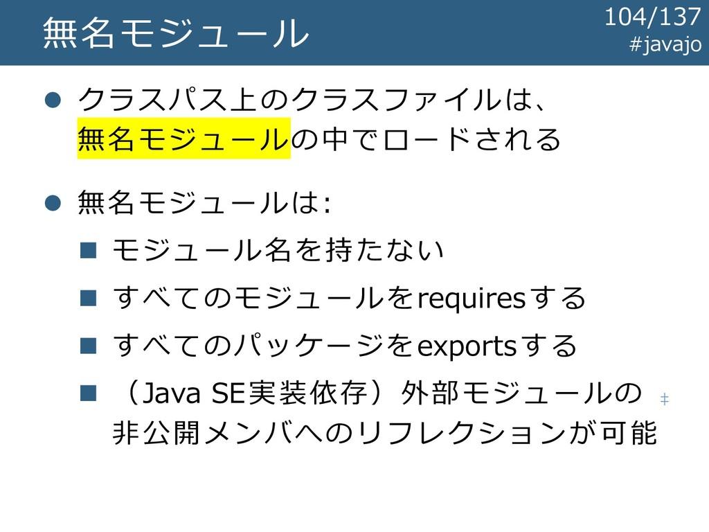 無名モジュール ⚫ クラスパス上のクラスファイルは、 無名モジュールの中でロードされる ⚫ 無...