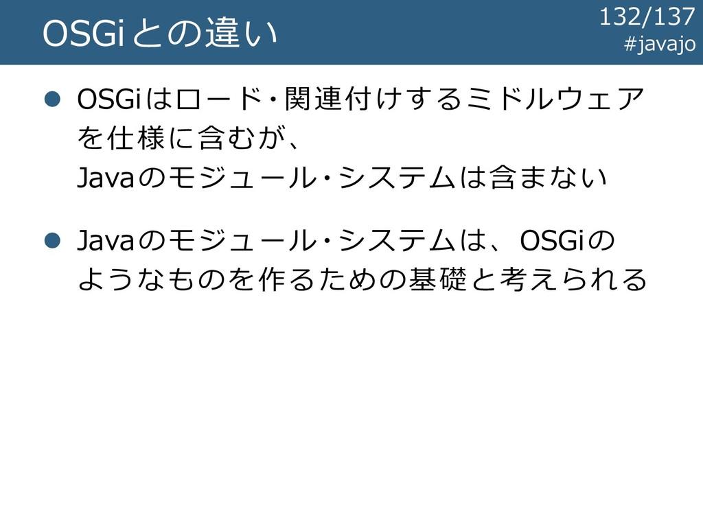 OSGiとの違い ⚫ OSGiはロード・関連付けするミドルウェア を仕様に含むが、 Javaの...