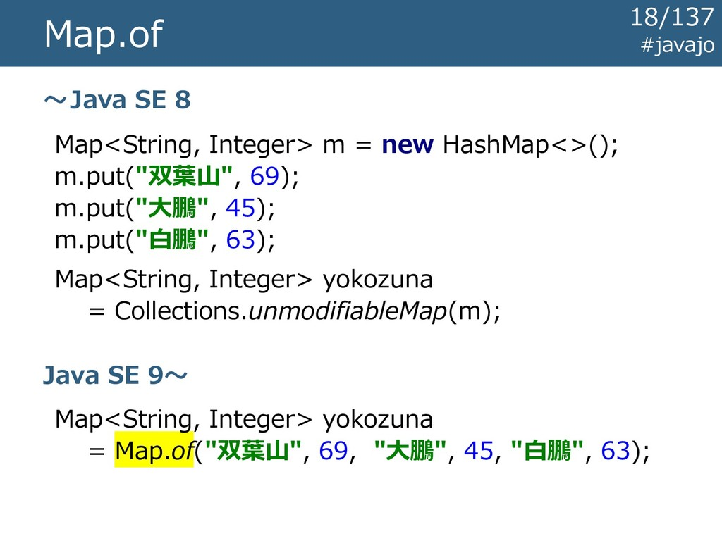 Map.of Map<String, Integer> m = new HashMap<>()...