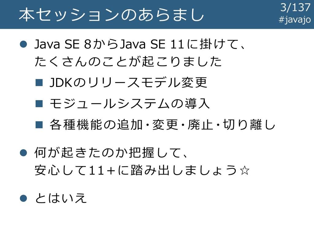 本セッションのあらまし ⚫ Java SE 8からJava SE 11に掛けて、 たくさんのこ...