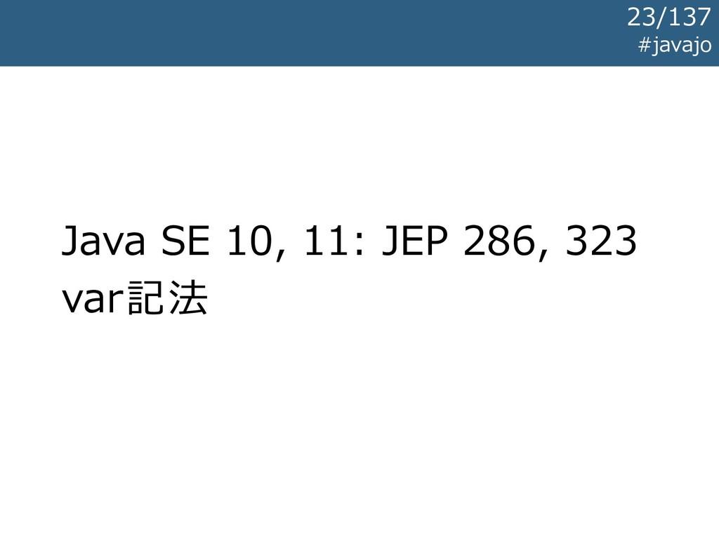 Java SE 10, 11: JEP 286, 323 var記法 #javajo 23/1...