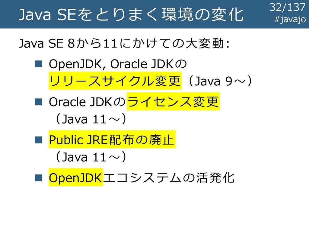 Java SEをとりまく環境の変化 Java SE 8から11にかけての大変動: ◼ Open...