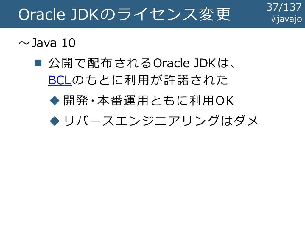 Oracle JDKのライセンス変更 ~Java 10 ◼ 公開で配布されるOracle JD...