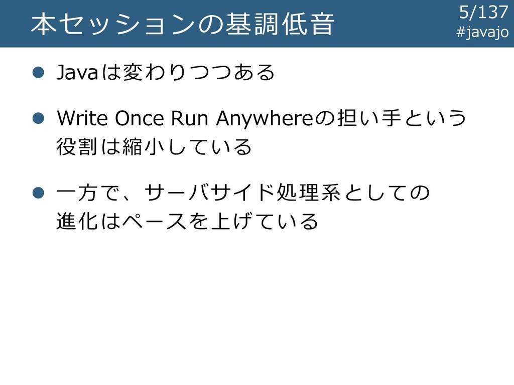 本セッションの基調低音 ⚫ Javaは変わりつつある ⚫ Write Once Run Any...