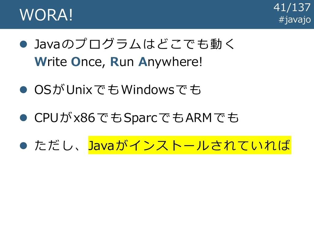 WORA! ⚫ Javaのプログラムはどこでも動く Write Once, Run Anywh...