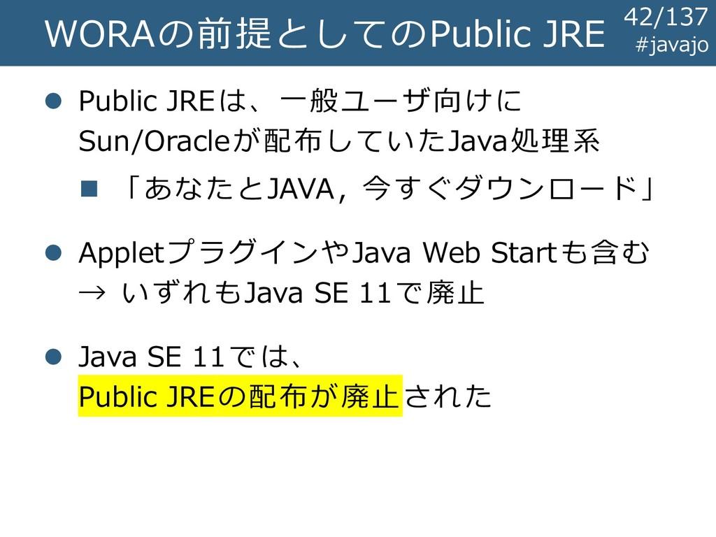 WORAの前提としてのPublic JRE ⚫ Public JREは、一般ユーザ向けに Su...