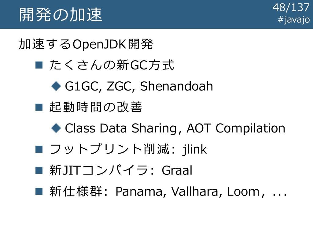 開発の加速 加速するOpenJDK開発 ◼ たくさんの新GC方式 ◆ G1GC, ZGC, S...