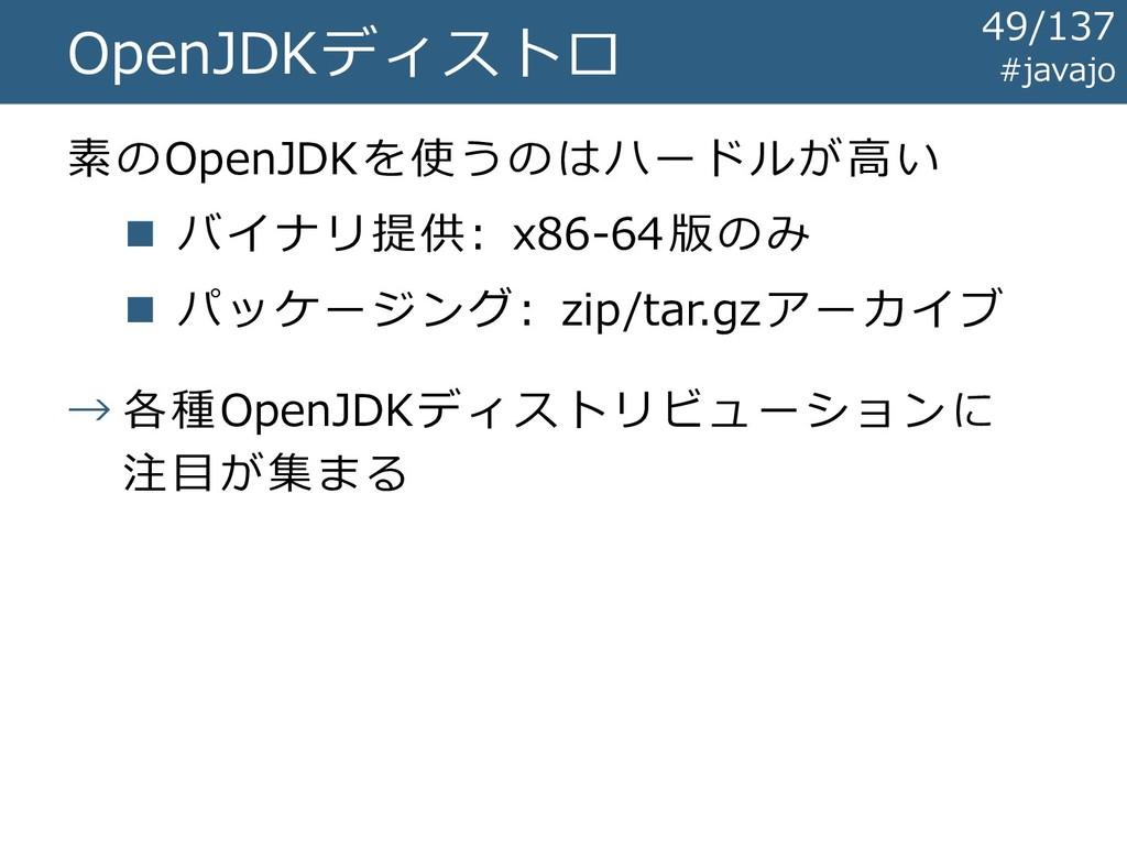 OpenJDKディストロ 素のOpenJDKを使うのはハードルが高い ◼ バイナリ提供: x8...