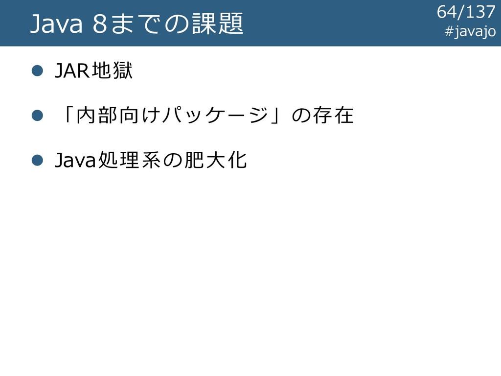 Java 8までの課題 ⚫ JAR地獄 ⚫ 「内部向けパッケージ」の存在 ⚫ Java処理系の...