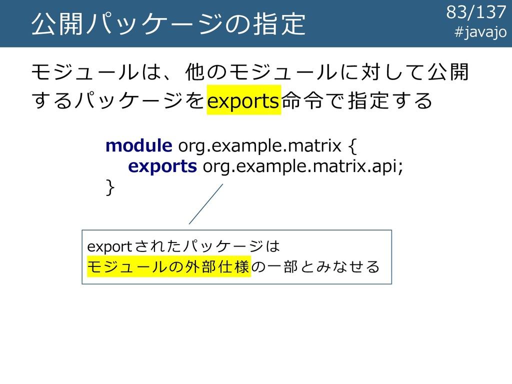 公開パッケージの指定 module org.example.matrix { exports ...