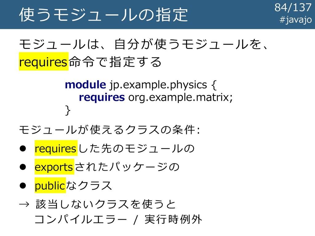 使うモジュールの指定 module jp.example.physics { requires...